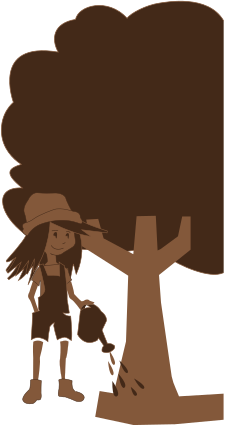 Chocolate Illustraion of a girl giving water to a tree